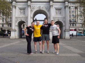 "Me, my husband, and a couple of our friends doing an ""unofficial"" Pat's shadow run in London in 2011."